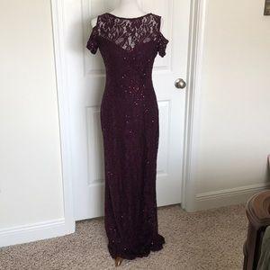 Stunning Burgandy Sequin Evening Gown Sz 4